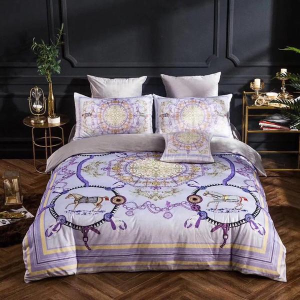 Роскошный дизайнер постельных принадлежностей одеяло пододеяльник синий зеленый покрывала хлопок шелковые простыни постельное белье полный королева король размер двойной