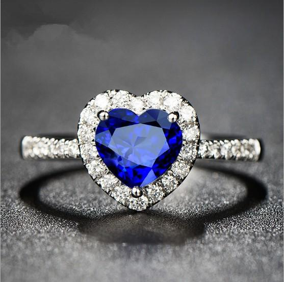 Blue Crystal the Heart of Ocean Rings Wholesale Set Free Size Designs for Boys Girls Girlfriends Couples Women Wedding Pieces Ring Jewelry