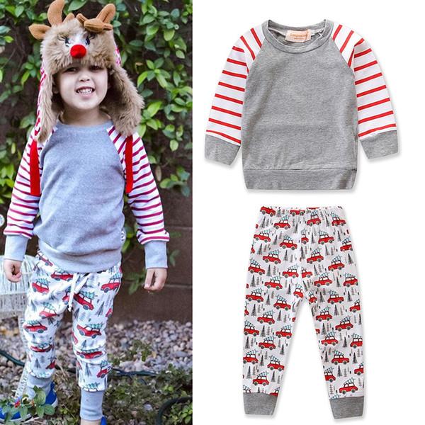 a188f2be8 Compre Conjunto De Ropa De Niña De Navidad Para Niños 2018 Otoño Nuevo  Niños Camiseta De Manga Larga Tops + Pantalón De Coche Pantalón De 2 ...