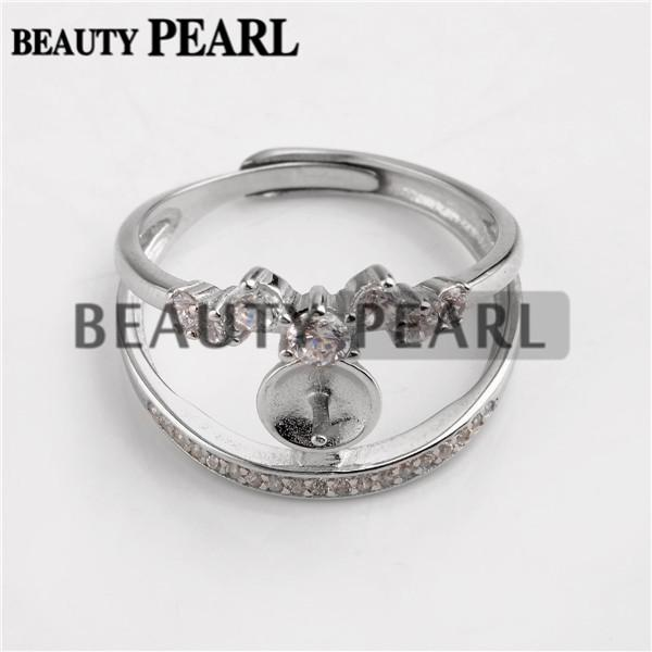 Bulk of 3 Pieces Dazzling Zircons Ring Findings Two Bands 925 Sterling Silver DIY Jewellery Make