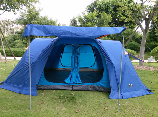 upgrade version!New camping tent 6-8 people family camping tent automatic two-bedroom halls with plus snow skirt have 1pair pole