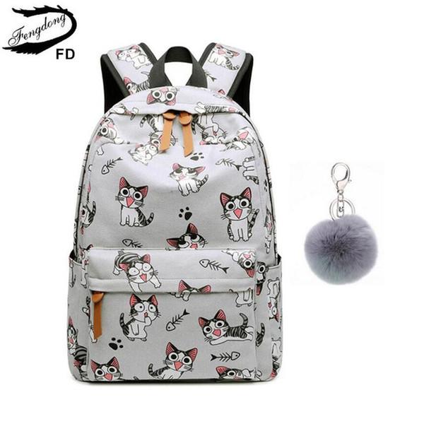 FengDong school bags for teenage girls schoolbag children backpacks cute animal print canvas school backpack kids cat bag pack S914