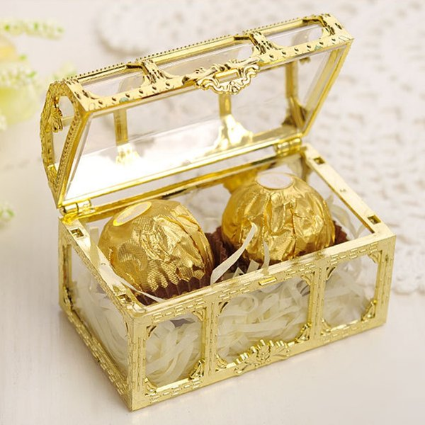 Candy Box Golden Silvery Transparent Gift Boxes Plastic Treasure Chest Wedding Favor Jewelry Storage DHL Fedex Shipping