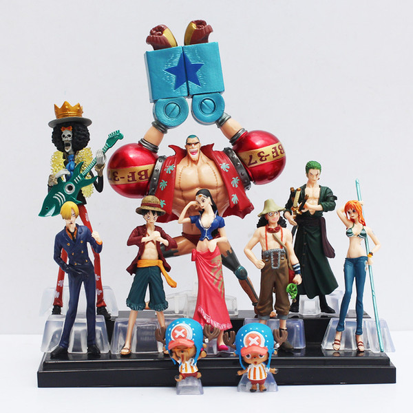 10pcs /Set Free Shipping Japanese Anime One Piece Action Figure Collection 2 Years Later Luffy Nami Roronoa Zoro Hand -Done Dolls