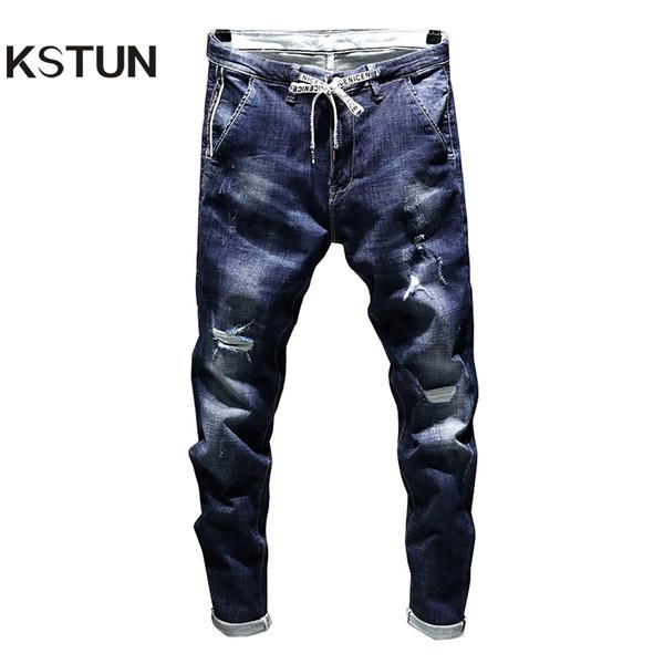 Stonewashed Jeans Erkek Streç Biker Ripped Pantolon Mavi İpli Slim Fit Konik Yırtık Sıkıntılı Erkek Öğrenci Joggers