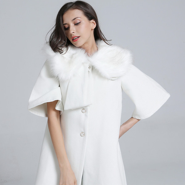 Long Wool Coat 2018 New Winter Rabbit Fur Collar Cloak White Coat Women High Street Half Sleeve Female Overcoat Ladies Cape