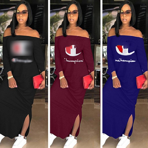best selling Women Champions Long Split Dress Long Sleeve Shoulder Out Hoodie Dresses Autumn Fall Fashion Solid Color Loose Skirt Plus Size Clothing