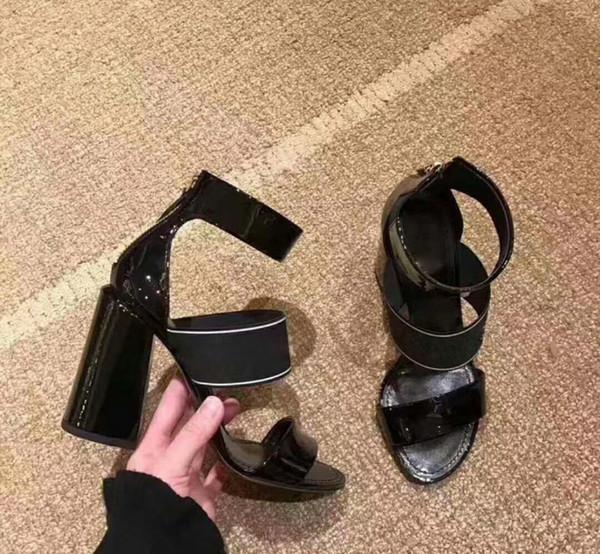 2018 модные женские сандалии на высоком каблуке из натуральной кожи с таким же стар