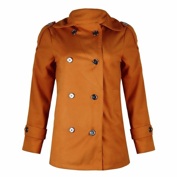 women's woolen coat jacket solid classic lady style double-breasted jacket coat for women female lady causal outerwear