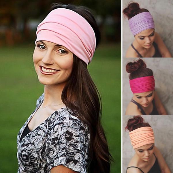 Mulheres Elastic Headband Sports Yoga Acessório de Dança Motociclista Ampla Headband Fita de Stretch Algodão Hairband Muitos Estilos