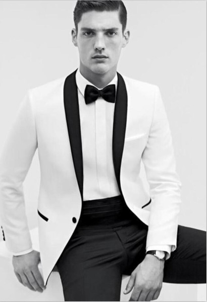 2018 White Men Suits Two Pieces Custom Made Groom Wear Mens Wedding Suits For Evening Wedding Event Top Qaulity