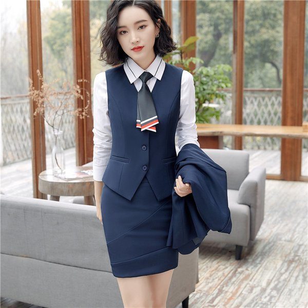 blue vest + skirt