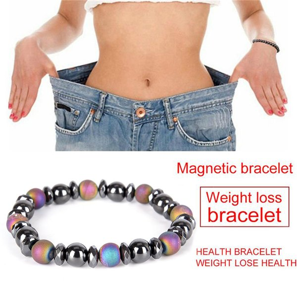 Colorful Beads Natural Stone Hematite Magnetic Bracelet Weight LossTherapy Health Care Stretch Bracelet & Bangle Men's Jewelry