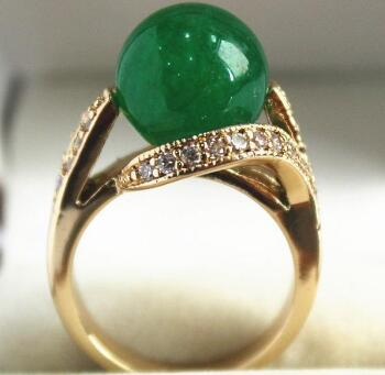 Free Shipping lady's elegant new jewelry GP with crystal decorated &12mm green jades bread ring(#7.8.9)0