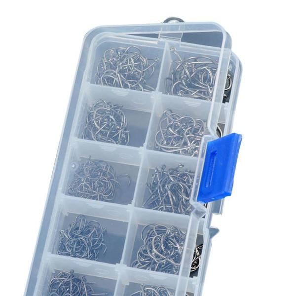 500 Pcs/Set 3# -12# Carbon Steel Fishing Hook Durable Head Hooks with Hole Carp Fishing Tackle Box