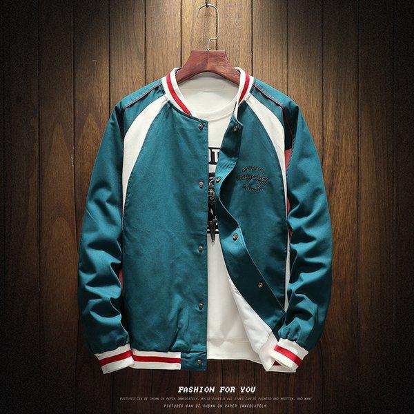 2018 Nuovo tasto girocollo Mens cappotti e giacche casual Indietro Stampa giovanile di baseball degli uomini Jacket Trend grande le Uomini Coat
