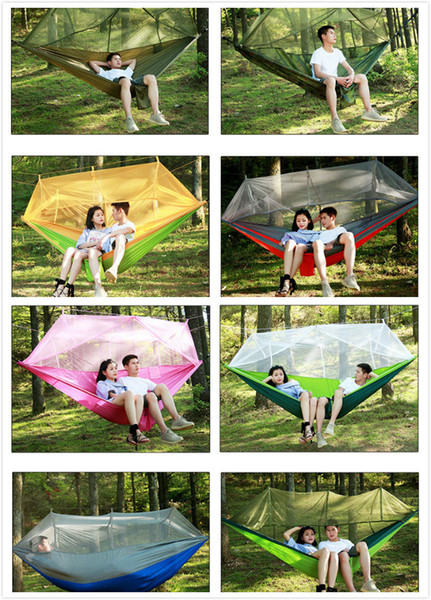 Lightweight Outdoor Hammock Rollover Field Camping Parachute Deployment Mosquito Mosquito Net Swing Chair 13 Colors Outdoor Patio Furniture