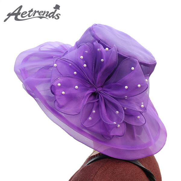 [AETRENDS] 2018 New Vintage Wedding Hat Pearl Net Yarn Flower Hats for Women Sun Hat Floral Caps Z-6477