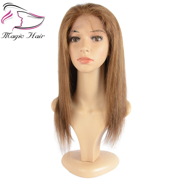 Evermagic silk base full lace human hair wigs Brazilian virgin hair #4 color straight human hair wigs glueless pre-plucked hairline