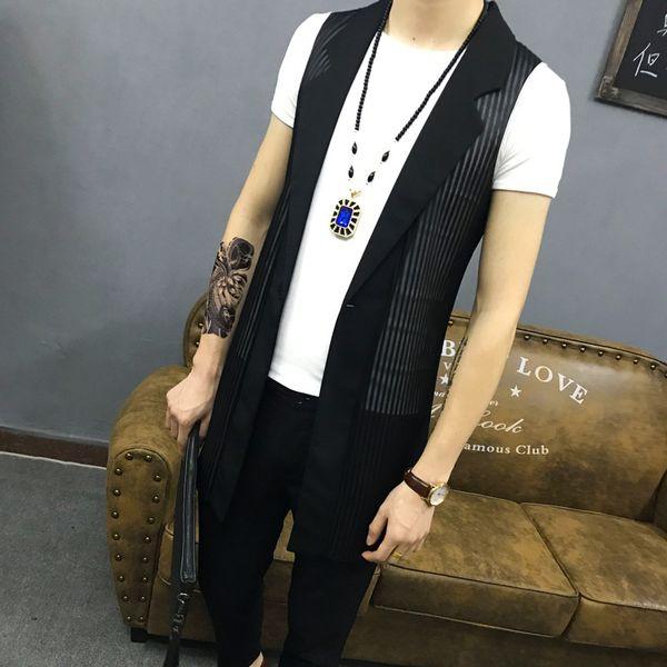 M~4XL New Men's Clothing Plus size Korean slim hair stylist vest sleeveless mesh hollow trend in the long waistcoat costumes