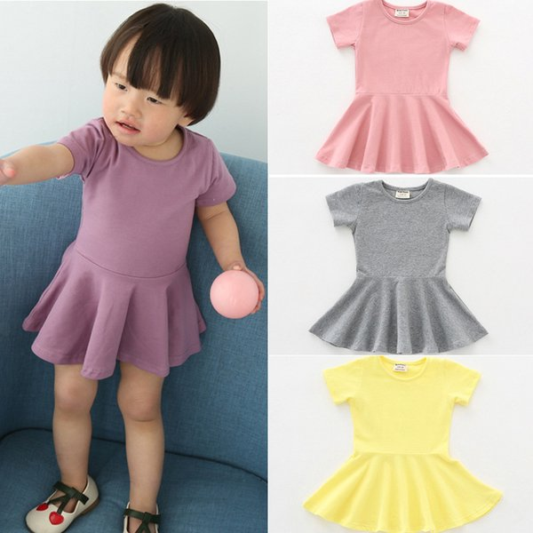 2018 summer new girls dress cotton lotus leaf skirt short sleeves and put on skirts simple children's skirt beautiful dresses girls