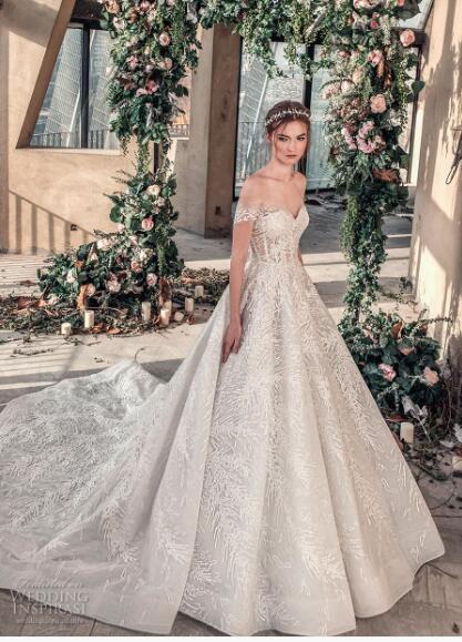 2018 luxury wedding dress high-end Gorgeous wedding dresssA line embellished with 3D flowers, silk threads, sequins, pearls and crystals.01