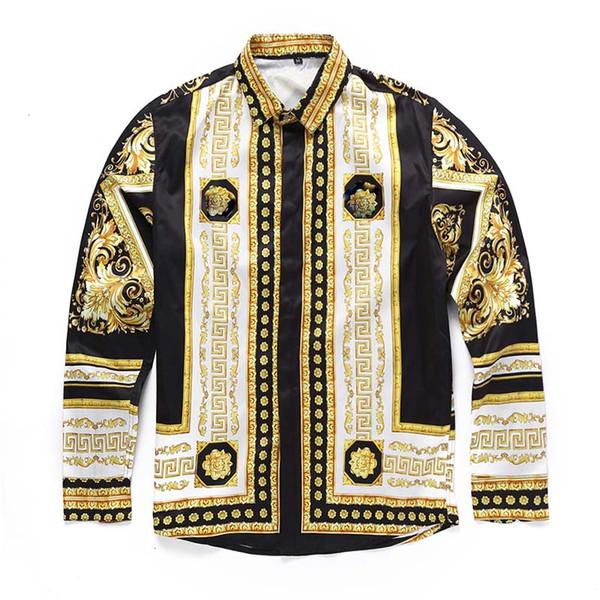 top popular Italian classic style Medusa Shirt Of pol Floral Print Colors Luxury Casual Harajuku Shirt Long Sleeve Men's Head Medusa Shirt 2019