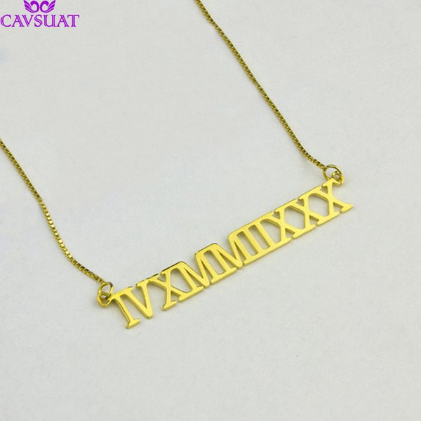 e48e944fb55 Customized Roman Numeral Necklace Box Chain Personalized Wedding Date  Pendant Women Choker Stainless Steel Best Friend