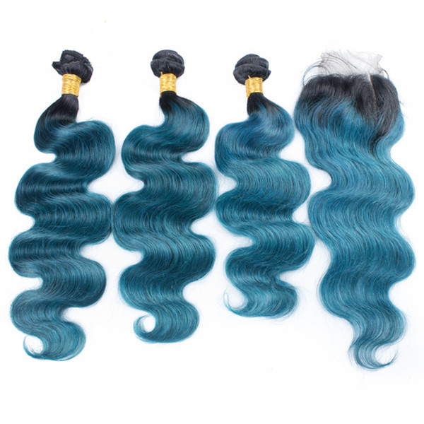 Ombre Blue Body Wave Hair Extension With Lace Closure 4x4 Dark Roots 1B Blue Human Hair Weaves With Lace Closure 4Pcs/lot