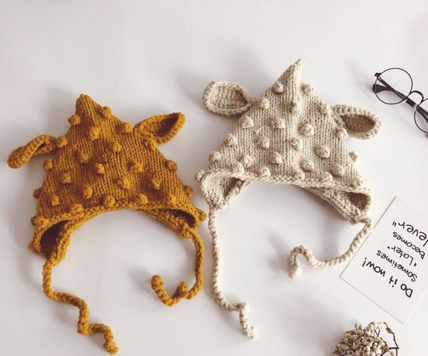 Baby kids cute rabbit ear hat hand-weaving children stereo pompons knited beanie baby girls crochet warmer braid ears cap F0507