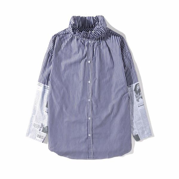 18SS B1CJ Blue And White Striped Newspaper Printing Women's Long And Long Stitching Shirt Man And Woman High Quality Shirt HFBYTX195
