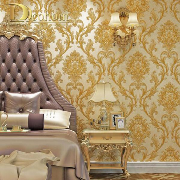 Einfache europäische 3D gestreifte Damastluxustapete für Wand-Dekor-moderne Tapetenrollen für Schlafzimmer-Wohnzimmer-Hintergrund