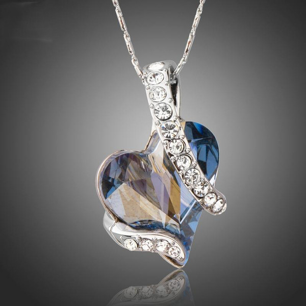 Azora Forever Love Light Blue Heart Stellux Austrian Crystal Classic Pendant Necklaces For Valentine Day Gift Of Love