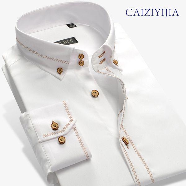 CAIZIYIJIA Mens England Brand-Clohting Silm fit Long Sleeve Dress Shirts High Quality Cotton Imported-china Camisa Masculina