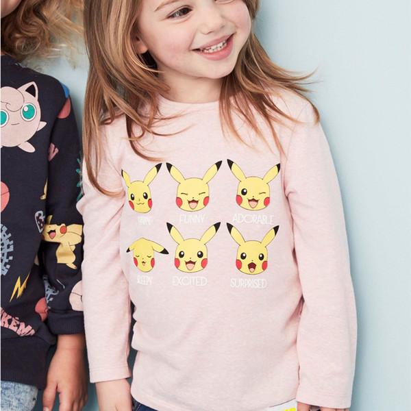 2 3 4 5 6 7 years Cartoon printed Baby girls T-shirts 2018 autumn shirt Tops 100% cotton children Tees kids Clothing Made In China