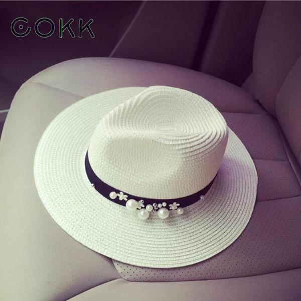Cokk New Spring Summer Hats For Women Flower Beads Wide Brim Jazz Panama Hats Chapeu Feminino Sun Visor Beach Hat Cappello