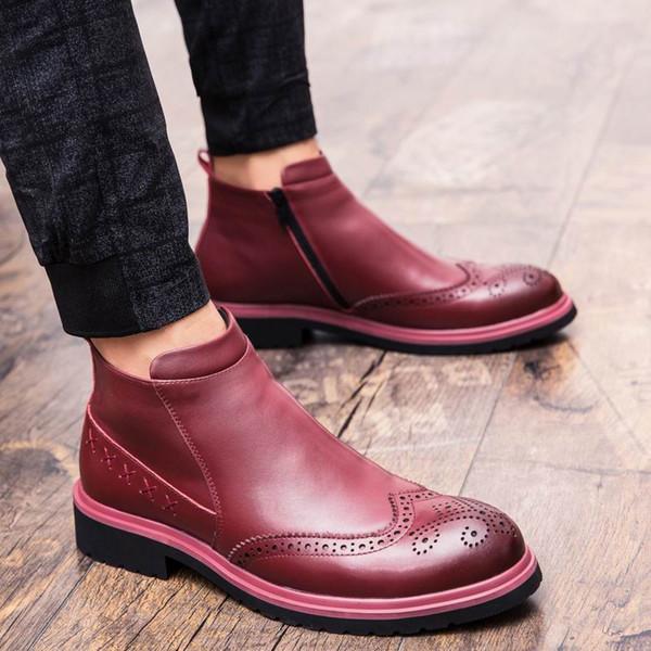 WEISHIMIBANG Tasarım Yüksek Üst Mens Kırmızı Brogue Ayakkabı Moda Ileri İngiliz Erkekler Siyah Martin Çizmeler Adam Bullock Ayak Bileği Çizmeler 38-44