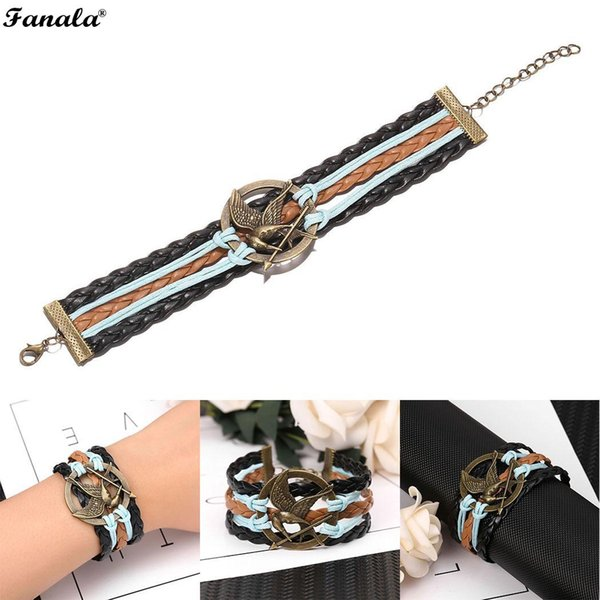 Fashion Women Nuovo gioco Bird Round Metal Bracelet Weave Wristband