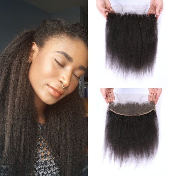 Kinky Straight Lace Frontal Closure 13*4inch Virgin Malaysian Yaki Straight Full Lace Frontal Bleached Knots 8-22inch LaurieJ Hair