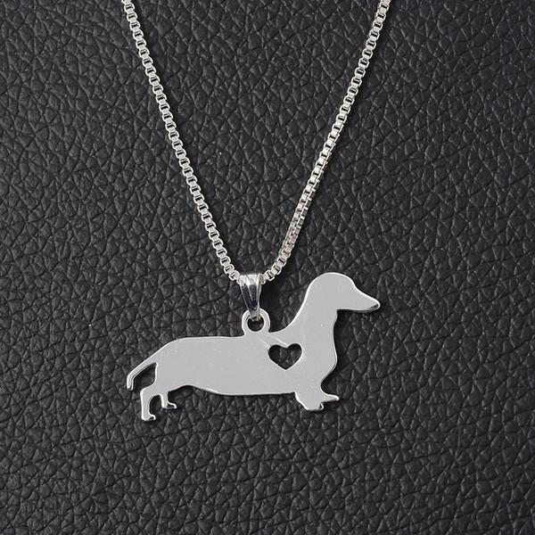 Silber Dackel Halskette New Cute Little Puppy Dog Anhänger Halskette für Männer Frauen Schmuck