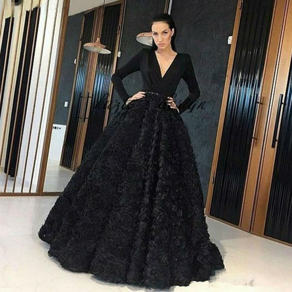 Elegant Black 3D Rose Floral Puffy prom Dresses Deep V Neck Long Sleeve Formal dubai arabic Evening pageant Wear Flower Red Carpet Gowns