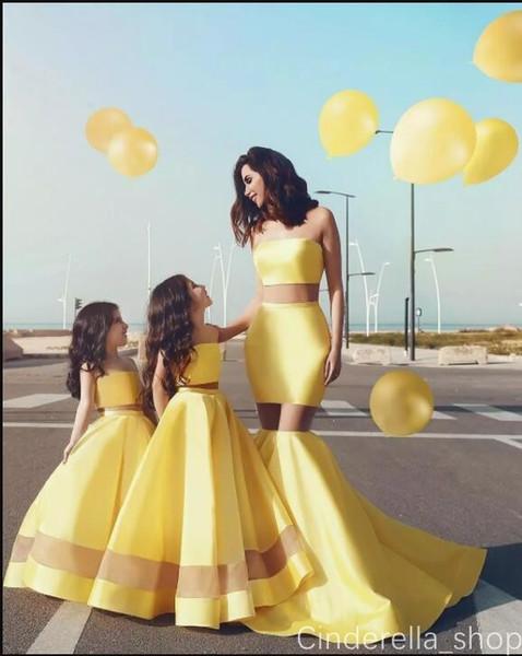 Zwei Stücke Gelb Mädchen Festzug Kleider Trägerlos Eine Linie Bodenlangen Lange Blumenmädchenkleider Geburtstag Party Kleider Plus Größe Cosplay Kleid