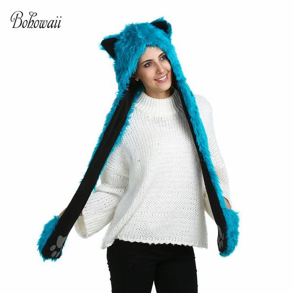 Compre Bohowaii Faux Fur Invierno Felpa Animal Sombreros Con Guantes ...