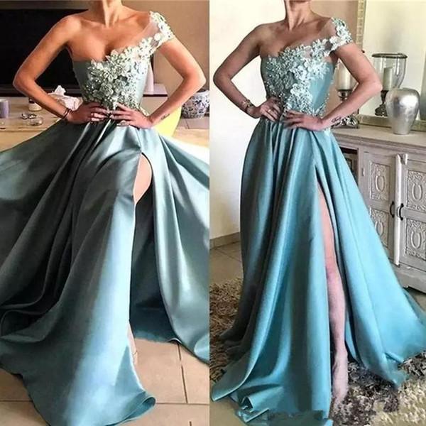 Одно плечо с высоким разрезом Синие платья выпускного вечера Аппликация из бисера A-Line Red Carpet Вечернее платье Вечерние платья