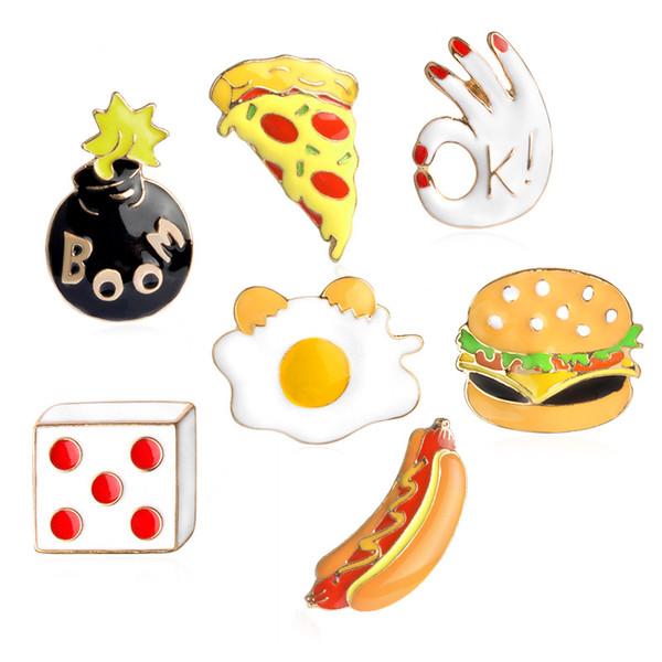 Carino Spille alimentari Colore creativo Burger Pizza Hot-dog Spilla Pin Abbigliamento bambini Decorazione Moda Accessori gioielli in lega all'ingrosso
