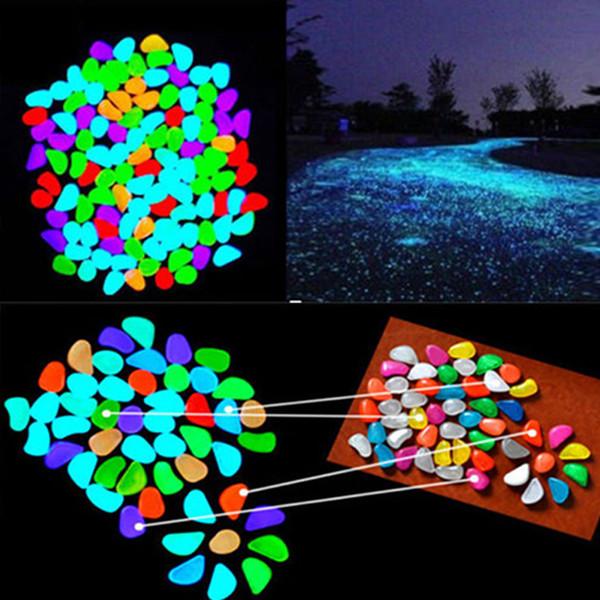 100pcs ornements de jardin brillent dans l'obscurité artificielle galets lumineux pierre aquarium poisson réservoir partie de mariage décoration A96486