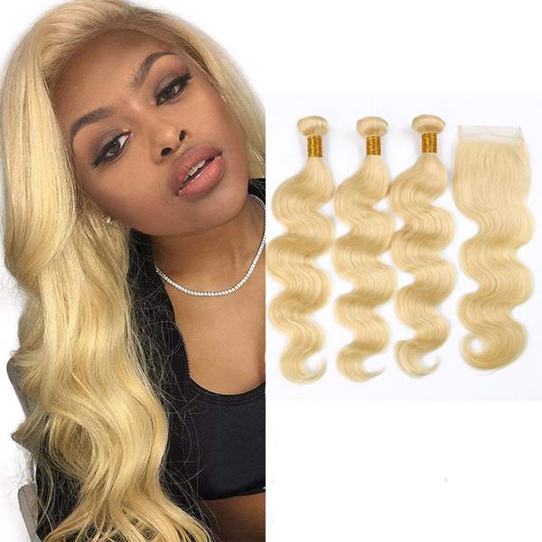 Peruanisches menschliches Haar 613 # Blonde Körperwelle bündelt mit 4X4 Spitze Schließung 4pieces / lot Mittlere freie dreiteilige Spitze Schließung mit 3 Bündeln
