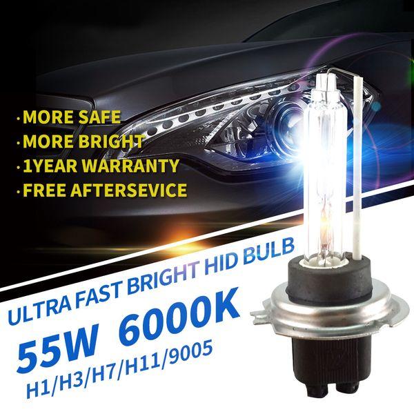 New FBI 12V 55W Xenon HID bulb More Bright lumens for Car Auto Headlight Light H1, H3, H9 H11 9005, 9006 HID 6000K