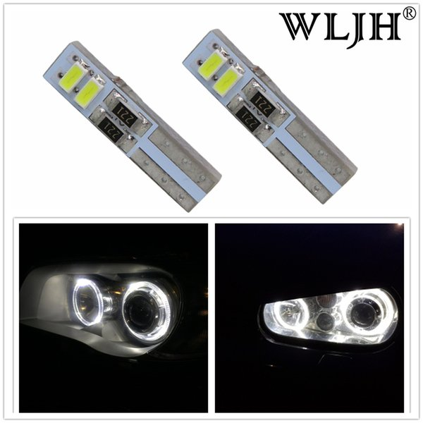 WLJH Canbus T5 LED Headlights Headlamp Light Angel Eyes for Ford Focus 2 II for VW Golf 4 IV for BMW Serie 3