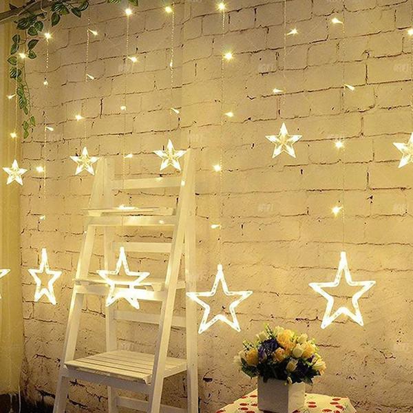 EU plug 2M 138 LED Christmas Lights AC 220V Romantic Fairy Star LED Curtain String Lighting For Holiday Wedding Garland Party Decoration